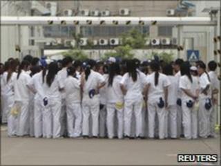 Workers at a Honda Lock factory, China - 14 June 2010