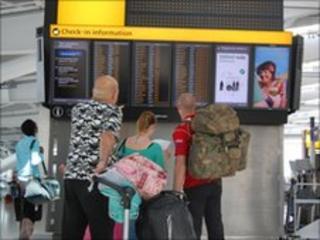 Passengers at Heathrow T5