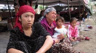 Family shelter in a refugee camp in Uzbekistan