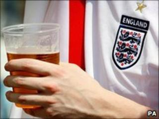 England fan with beer