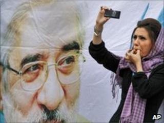 Mousavi supporter at a rally in Tehran, June 2009