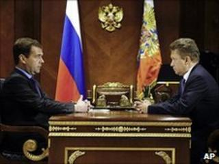 Russian President Dmitry Medvedev (left) and Gazprom chief executive Alexei Miller