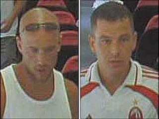 Image released by British Transport Poice of two men sought following alleged abusive behavour aboard a train