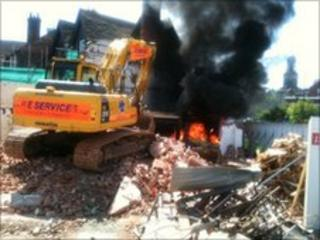 Shrewsbury fire in collapsed building, photo by Jonnie Ashley