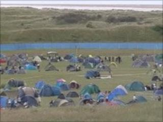 Campers at Beach Break Live in Pembey