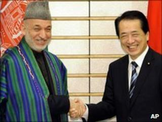 Afghan President Hamid Karzai with Japanese Prime Minister Naoto Kan in Tokyo on 17/6/2010