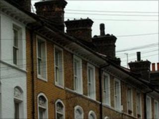 Row of terraced houses in London