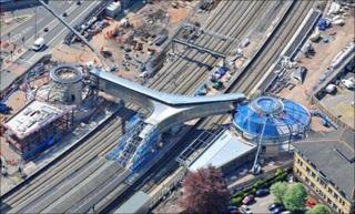 Aerial shot of Newport railway station