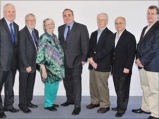 Prof Gerry McCormac, Prof Frank Stephen, Prof Elinor Ostrom, Alex Salmond, Prof Oliver Williamson, Prof Pablo Spiller and Prof Roger Sugden