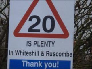 '20 is plenty' sign
