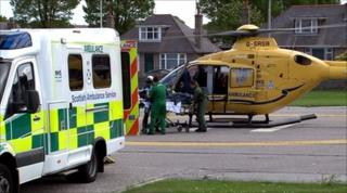 Air ambulance helicopter at hospital