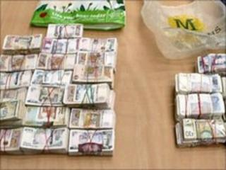 Cash seized during the investigation