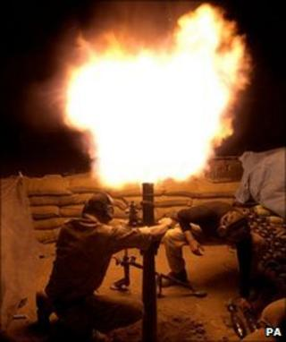 British army mortar team from 42 Commando Royal Marines fire mortars in Garmsir, Helmand province