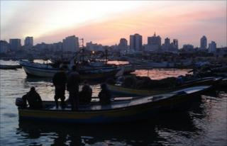 Fishing boats in Gaza City's harbour
