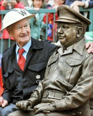 Statue of Dad's Army's Captain Mainwaring with Bill Pertwee from the series