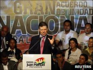 Juan Manuel Santos at a campaign rally in Bogota, 18 June 2010