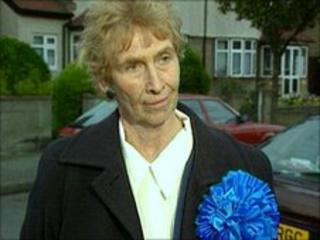Dame Angela Rumbold campaigning in 1997