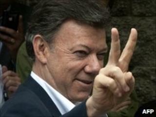 Juan Manuel Santos after casting his vote