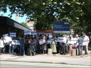 Protesters outside Oxford and Cherwell Valley College