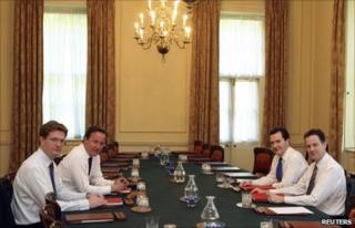 Chief Secretary to the Treasury Danny Alexander, Prime Minister David Cameron, Chancellor of the Exchequer George Osborne and Deputy Prime Minister Nick Clegg finalise Budget plans