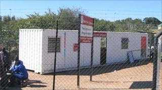 Save the Children's converted container office at the border
