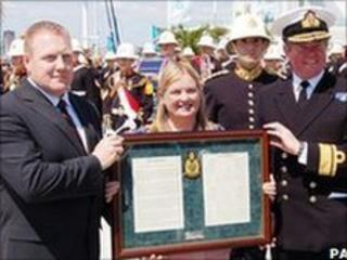 Maj Pete Curtis (right), Cllr Mary Champion and Rear Adm Tom Cunningham (right)