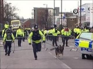 Police and fans clash near St Mary's stadium in Southampton