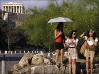 Tourists in Athens (file image)