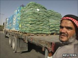 Palestinian with truck of vegetables at Kerem Shalom border crossing