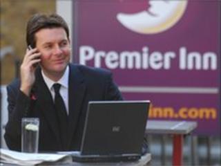 Businessman at Premier Inn