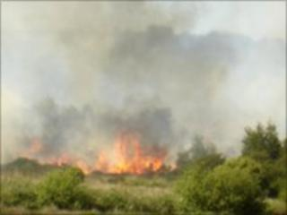 The fire in a field at Lettershandoney was started at about 1830 BST