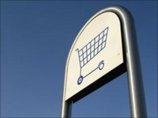 Supermarket trolley sign