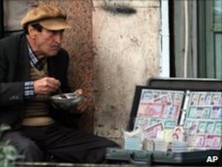 A money changer in Tehran, Iran