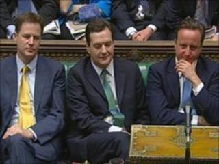 Nick Clegg, George Osborne and David Cameron