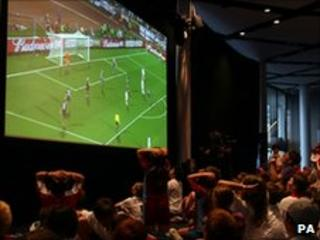 Big screens showed the game throughout the country