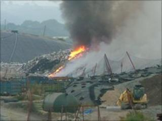 Fire at Lean Quarry landfill site, Cornwall