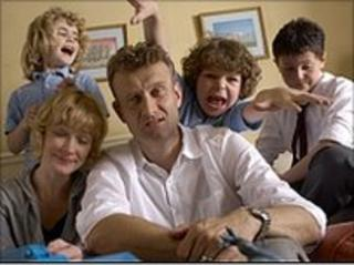 The Brockman family from the BBC comedy series 'Outnumbered'