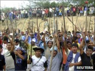 Native people protest in Bagua province, northern Peru, on 4 June, 2009.