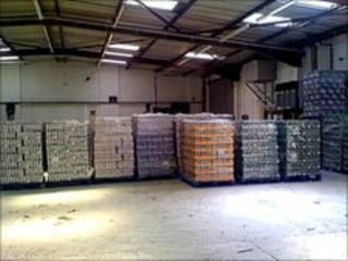 Seized beer in warehouse