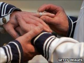 A mock gay marriage in the UK (file photo December 2005)