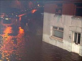 Flooding at Bryngwyn Road, Dafen, Llanelli, Carmarthenshire