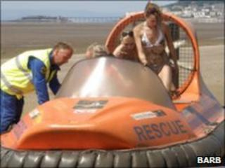 Two women from Bristol in the rescue hovercraft