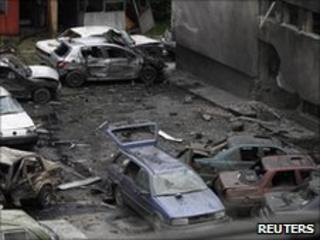 Bomb blast site in Bugojno
