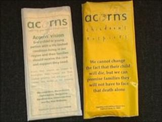 The legitimate (left) and the fake (right) Acorns Children's Hospice Trust collection bags