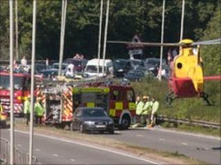 The air ambulance on the A329 Bracknell