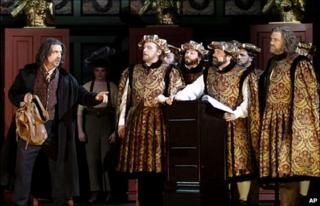 Walther, portrayed by Raymond Very, left, and Hans Sachs, portrayed by Bryn Terfel in WNO's current production of Meistersinger