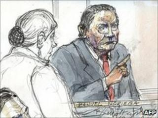 Artist's impression of Manuel Noriega in the Paris courtroom