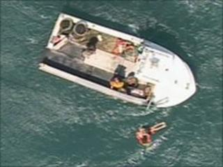 Man airlifted from boat