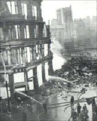 Fiery shell of Ben Evans department store (West Glamorgan Archive Service)