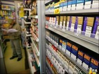 Tobacco products displayed in shop